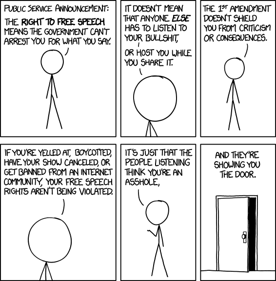 free speech vs toxic opinion from xkcd